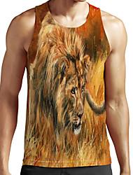 cheap -Men's Unisex Tank Top Undershirt Shirt 3D Print Graphic Prints Lion Animal Plus Size Print Sleeveless Casual Tops Basic Fashion Designer Breathable Round Neck Brown / Sports / Summer