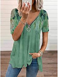 cheap -Women's Bohemian Theme T shirt Floral Zipper V Neck Tops Basic Basic Top Green Beige