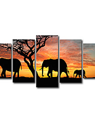 cheap -5 Panels Modern Landscape Animal Elephant Printing Painting Cafe Hotel Bedroom Home Wall Art Decoration Painting 150*80 Cm