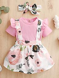 cheap -Baby Girls' Floral Print Short Sleeve Regular Clothing Set With Headband