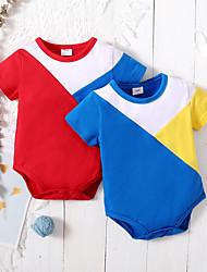 cheap -Baby Boys' Basic Color Block Print Short Sleeves Romper Blue Red