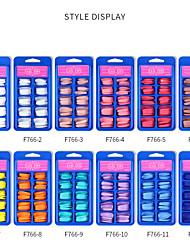 cheap -12 Pcs False Nails Small Blue Box Full-stick Long Ballet Fake Nail Nail Patch Wearable Fake False Nails Solid Color Nail Patch