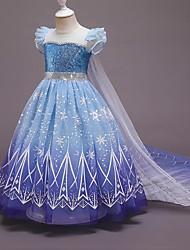 cheap -Elsa Flapper Dress Dress Party Costume Girls' Movie Cosplay Cosplay Costume Party Blue Dress Children's Day Masquerade Polyester