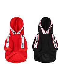 cheap -Dog Cat Hoodie Dog clothes Casual / Sporty Chinoiserie Dailywear Casual / Daily Winter Dog Clothes Puppy Clothes Dog Outfits Breathable Black Red Costume for Girl and Boy Dog Cotton S M L XL XXL
