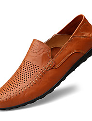 cheap -Men's Loafers & Slip-Ons Crochet Leather Shoes Comfort Loafers Business Classic British Daily Outdoor Walking Shoes Nappa Leather Cowhide Breathable Handmade Non-slipping Booties / Ankle Boots Light