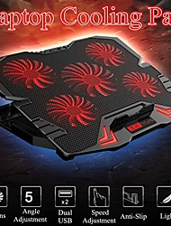 cheap -17 inch Gaming Laptop Cooler Fan Led Screen 2400RPM Touch LCD Laptop Cooling Pad 5 Fan Gaming Notebook Stand Holder For Gamer