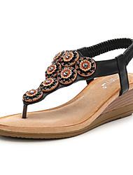 cheap -Women's Sandals Wedge Heel PU Rhinestone Beading Almond Black Pink