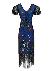 cheap -The Great Gatsby The Great Gatsby Dress Women's Costume Blue / Black / Red Vintage Cosplay Homecoming Date Sheath / Column