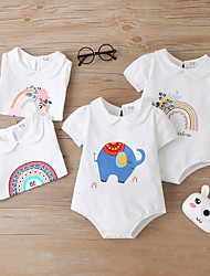 cheap -Baby Girls' Bodysuit Basic Cotton Blue Blushing Pink Dusty Rose Print Short Sleeves / Summer