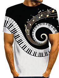 cheap -Men's Tee T shirt Shirt 3D Print 3D Musical Instrument Print Short Sleeve Daily Tops Casual Designer Big and Tall Round Neck Black / White / Summer