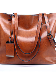 cheap -Women's Bags PU Leather Tote Solid Colored Daily Going out 2021 Tote Handbags Wine Black Brown Drak Red