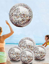"""cheap -5 Pack Sequin Beach Ball Jumbo Pool Toys Balls Giant Confetti Glitter Inflatable Clear Beach Ball Swimming Pool Beach Toys Outdoor Summer Party Favors for Kids Adults (24""""-2 Pieces,16""""-3 Pieces)"""