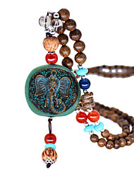 cheap -Women's Pendant Necklace Beaded Necklace Drop Elephant Ethnic Fashion Vintage Trendy Wooden Resin Chrome Brown 80 cm Necklace Jewelry 1pc For Street Prom Birthday Party Beach Festival / Long Necklace