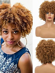 cheap -Short Brown Kinky Afro Wig for Black Women Natural Synthetic Curly Cosplay Costume Wigs with Wig Cap