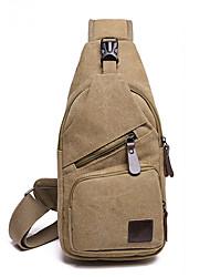 cheap -Men's Bags Canvas Sling Shoulder Bag Zipper Plain Daily 2021 Black Blue Army Green Khaki