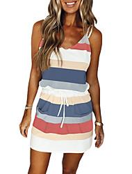 cheap -Women's Strap Dress Short Mini Dress Blushing Pink Dark Green Navy Blue Violet Sleeveless Striped Color Block Drawstring Lace up Spring Summer V Neck Casual 2021 S M L XL XXL XXXL / Acrylic Fibers