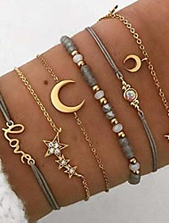 cheap -simsly multilayer set 6 rhinestones bracelets gold beaded chain crescent bracelets chain fantasy hand accessories for women and girls