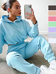 cheap -Women's 2 Piece Cropped Tracksuit Sweatsuit Street Athleisure 2pcs Long Sleeve Thermal Warm Breathable Soft Fitness Gym Workout Running Jogging Training Sportswear Solid Colored Normal Hoodie White