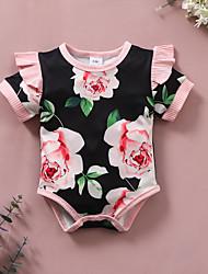 cheap -Baby Girls' Basic Floral Print Short Sleeves Romper Black