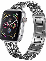 cheap -Smart watch band stainless steel slave bracelet compatible with apple watch chain design adjustable safety clasp smart casual style for iwatch series 6/se/5/4/3/2/1  44mm 42mm 40mm 38mm