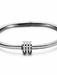cheap -jude jewelers stainless steel oval shape cubic zircon bangle bracelet (silver)