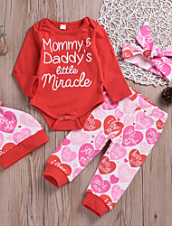 cheap -Baby Girls' Basic Print Print Long Sleeve Regular Clothing Set Red