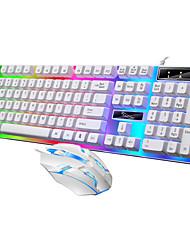 preiswerte -USB verdrahtet PC bunt LED beleuchtet beleuchtet von hinten beleuchtet Regenbogen Gaming Tastatur Maus Set wasserdichte Computerspiel Tastaturen
