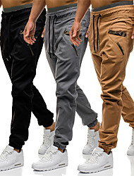 cheap -Men's Sporty Casual / Sporty Streetwear Quick Dry Breathable Soft Pants Chinos Trousers Daily Sports Pants Solid Color Full Length Drawstring Elastic Waist Grey Khaki Black