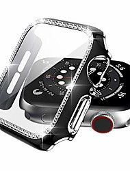 cheap -Smart watch Case compatible apple watch case 40mm with tempered glass screen protector accessories, bling crystal diamond full coverage guard bumper cover  iwatch series 6/5/4/se (black/silver, 40mm)