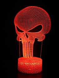 cheap -3D Night Light Punisher Skull For Kids 3D Nightlight Illusion Lamp LED Desk Table Lamp With Remote Control  16 Colors Change Best Christmas Halloween Birthday Gift For Child Baby Boys Punisher