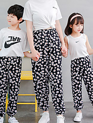 cheap -Daisy/Leaf/Pineapple/Strawberry Print Summer Anti-mosquito Sunscreen Loose Pants for Mommy and Me