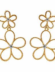 cheap -filigree flower dangle drop stud earrings sterling silver s925 cz crystal hollow sweet flower dangling charm earring studs dainty jewelry gifts hypoallergenic for women girls best friend (gold)