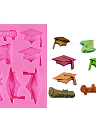 cheap -DIY Graduate Silicone Molds Bachelor Cap Fondant Mold DIY Party Cake Decorating Tools Candy Clay Chocolate Moulds Random Color