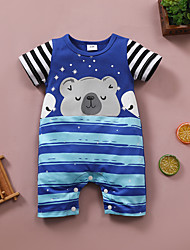 cheap -Baby Unisex Boys' Romper Basic Casual Daily Cute Cotton Blue Cartoon Striped Bear Print Short Sleeves / Summer