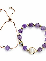 cheap -richladys bracelets for women natural faceted amethyst bracelet set korean fashion simple original dream girl rose gold bracelet female models (includes 2 models)