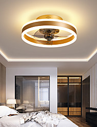cheap -LED Ceiling Fan Light Modern Black White Coffee Gold 46 cm Dimmable Ceiling Fan PVC Modern Style Stylish Painted Finishes 110-120V 220-240V