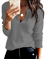 cheap -Women's Solid Color Sweater Long Sleeve Sweater Cardigans V Neck White Black Red Wine
