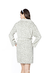 cheap -Flannel Medium Length Bathrobe for Women with Striped Pattern for Warmth and Comfort Homewear