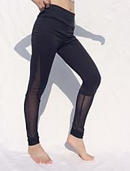 cheap -Women's Fashion Casual / Sporty Comfort Weekend Gym Leggings Pants Plain Ankle-Length Mesh Patchwork Black