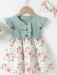 cheap -Baby Girls' Basic Floral Print Short Sleeve Dress Blushing Pink Green Beige