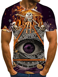 cheap -Men's Unisex Tee T shirt 3D Print Graphic Prints Eye Plus Size Print Short Sleeve Casual Tops Basic Fashion Designer Big and Tall Purple