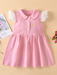 cheap -Baby Girls' Basic Floral Solid Colored Embroidered Short Sleeve Dress Blushing Pink