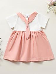 cheap -Baby Girls' Basic Color Block Short Sleeve Dress Blushing Pink
