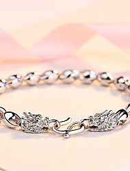 cheap -Men's Chain Bracelet Bracelet Cut Out Precious Fashion Copper Bracelet Jewelry Silver For Christmas Party Halloween Daily Work / Silver Plated