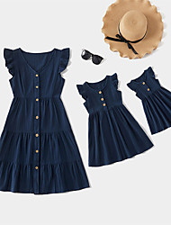 cheap -Mommy and Me Solid Ruffle Decor Tank Dresses