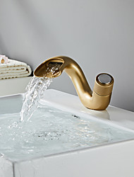 cheap -Bathroom Sink Faucet - Waterfall Antique Brass / Nickel Brushed / Painted Finishes Centerset Single Handle One HoleBath Taps