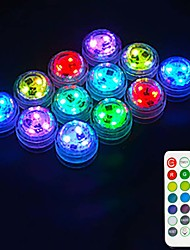 cheap -Outdoor 12PCS LED RGB Submersible Light Remote Controlled Battery Operated Underwater Night Lamp Fish Tank Pond Swimming Pool Aquarium Vase Christmas Wedding Party Decoration Lamp