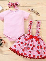 cheap -Baby Girls' Basic Fruit Print Short Sleeve Knee-length Dress Blushing Pink