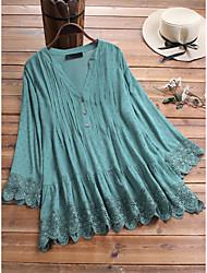 cheap -Women's Plus Size Tops Blouse Shirt Plain Lace Button Long Sleeve V Neck Navy White Light Green Big Size L XL 2XL 3XL 4XL