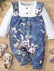cheap -Baby Girls' Basic Floral Print Long Sleeve Romper Blue